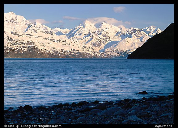 Snowy mountains of Fairweather range and West Arm, morning. Glacier Bay National Park (color)