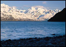 Snowy mountains of Fairweather range and West Arm, morning. Glacier Bay National Park, Alaska, USA.