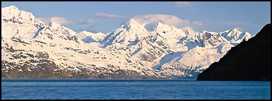 Snow-covered Fairweather mountains. Glacier Bay National Park (Panoramic color)