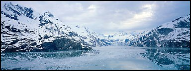 Fjord landscape with mountains and glaciers. Glacier Bay National Park (Panoramic color)
