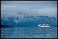 Cruise vessel in blue seascape. Glacier Bay National Park, Alaska, USA. (color)