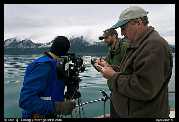 Team begins filming a movie sequence. Glacier Bay National Park (color)