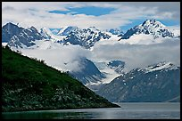 Peaks of Fairweather range with clearing clouds. Glacier Bay National Park, Alaska, USA.