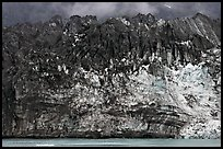 Ice colored by black moraining debris on the front of Margerie Glacier. Glacier Bay National Park ( color)