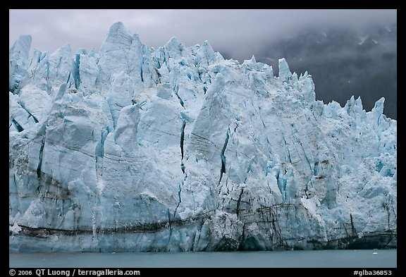 Blue ice on the tidewater terminus of Margerie Glacier. Glacier Bay National Park (color)