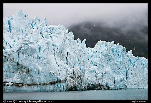 Front of Margerie Glacier in foggy weather. Glacier Bay National Park, Alaska, USA.