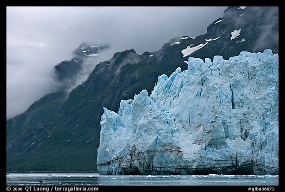 Terminal front of Margerie Glacier with blue ice. Glacier Bay National Park, Alaska, USA.