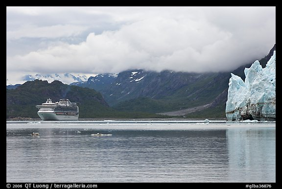 Cruise boat in Tarr Inlet next to Margerie Glacier. Glacier Bay National Park (color)
