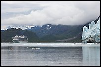 Cruise boat in Tarr Inlet next to Margerie Glacier. Glacier Bay National Park, Alaska, USA. (color)