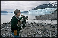 Cameraman filming in Tarr Inlet. Glacier Bay National Park ( color)