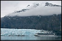 Cruise ship, Margerie Glacier, and Mt Forde. Glacier Bay National Park, Alaska, USA. (color)
