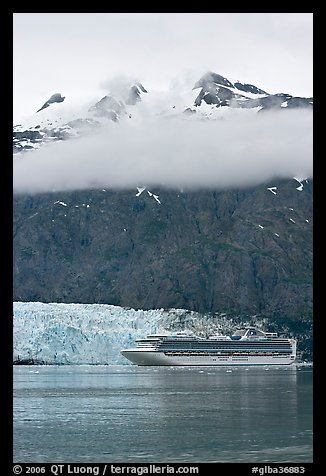 Cruise ship and Margerie Glacier at the base of Mt Forde. Glacier Bay National Park (color)