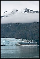 Cruise ship and Margerie Glacier at the base of Mt Forde. Glacier Bay National Park, Alaska, USA.