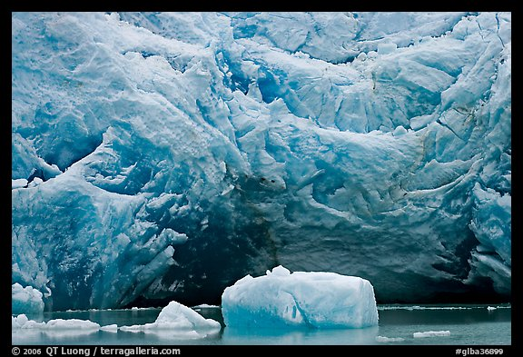 Iceberg and blue ice cave at the base of Reid Glacier. Glacier Bay National Park (color)