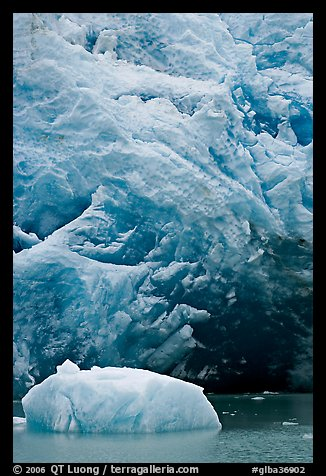 Iceberg and ice cave at the base of Reid Glacier. Glacier Bay National Park (color)