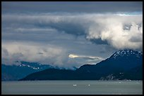 Storm clouds over the bay, West Arm. Glacier Bay National Park, Alaska, USA. (color)