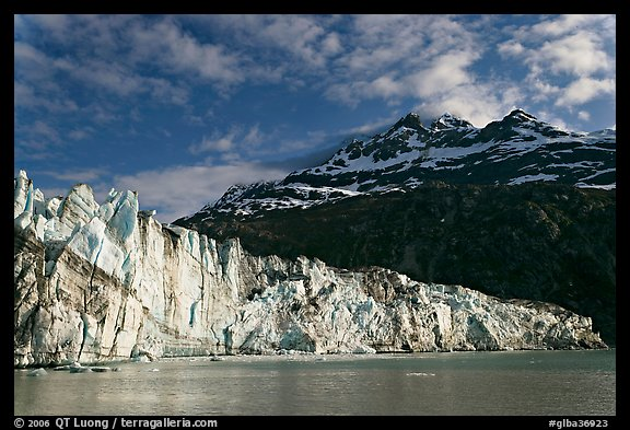 Lamplugh glacier and Mt Cooper, late afternoon. Glacier Bay National Park (color)