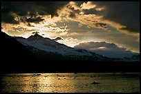 Mount Eliza and Tarr Inlet under clouds at sunset. Glacier Bay National Park, Alaska, USA.