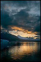 Margerie Glacier, Mount Eliza and Tarr Inlet at sunset. Glacier Bay National Park, Alaska, USA.