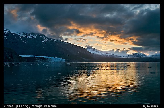 Mount Forde, Margerie Glacier, Mount Eliza, Grand Pacific Glacier, at sunset. Glacier Bay National Park (color)