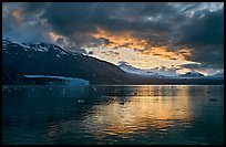 Mount Forde, Margerie Glacier, Mount Eliza, Grand Pacific Glacier, at sunset. Glacier Bay National Park, Alaska, USA.