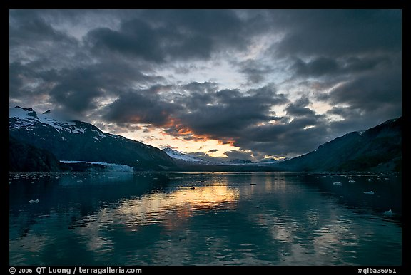 Mount Forde, Margerie Glacier, Mount Eliza, Grand Pacific Glacier, and Tarr Inlet, cloudy sunset. Glacier Bay National Park (color)