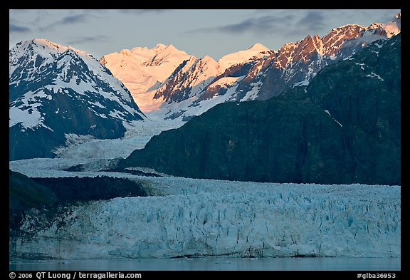 Mount Fairweather and Margerie Glacier, sunrise. Glacier Bay National Park, Alaska, USA.