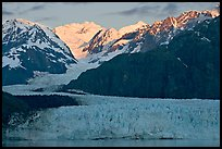 Mount Fairweather and Margerie Glacier, sunrise. Glacier Bay National Park, Alaska, USA. (color)