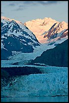 Margerie Glacier flowing from Mount Fairweather into the Tarr Inlet, sunrise. Glacier Bay National Park ( color)