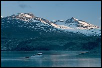 Small boat in Tarr Inlet, early morning. Glacier Bay National Park, Alaska, USA.