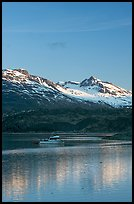 Small boat at the head of Tarr Inlet, early morning. Glacier Bay National Park ( color)