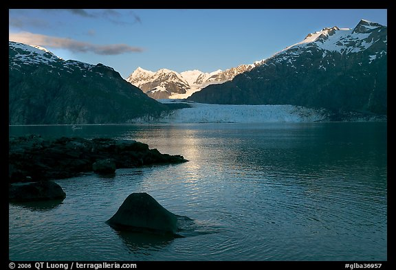 Mount Fairweather, Margerie Glacier, Mount Forde, and Tarr Inlet, early morning. Glacier Bay National Park (color)