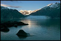 Mount Fairweather, Margerie Glacier, Mount Forde, and Tarr Inlet, early morning. Glacier Bay National Park, Alaska, USA.
