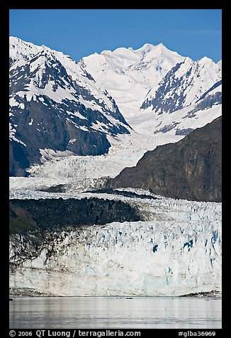 Margerie Glacier flows from Mount Fairweather, early morning. Glacier Bay National Park, Alaska, USA.