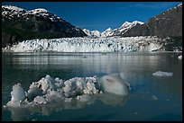 Iceberg, wide front of Margerie Glacier and Fairweather range. Glacier Bay National Park, Alaska, USA.