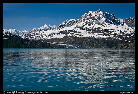 Mount Cooper and Lamplugh Glacier, reflected in rippled waters of West Arm, morning. Glacier Bay National Park (color)