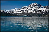 Mount Cooper and Lamplugh Glacier, reflected in rippled waters of West Arm, morning. Glacier Bay National Park, Alaska, USA. (color)