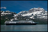 Cruise ship and snowy peaks. Glacier Bay National Park, Alaska, USA. (color)