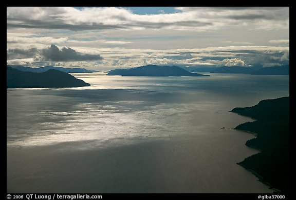 Aerial view of Sitakaday Narrows, late afternoon. Glacier Bay National Park, Alaska, USA.