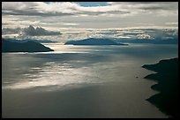 Aerial view of Sitakaday Narrows, late afternoon. Glacier Bay National Park, Alaska, USA. (color)