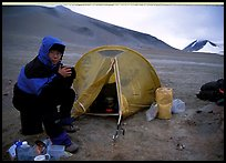 Camping on the bare terrain of the Valley of Ten Thousand smokes. Katmai National Park, Alaska