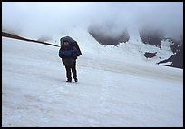 Hiking in a white-out, Valley of Ten Thousand smokes. Katmai National Park, Alaska