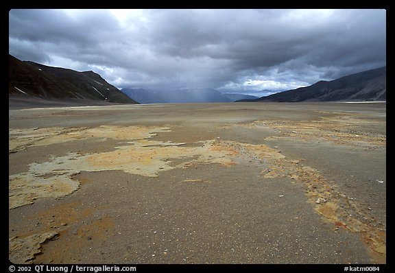 Colorful slabs in the ash-covered floor of the Valley of Ten Thousand smokes. Katmai National Park (color)