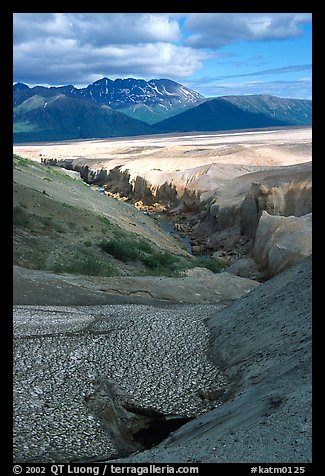 Snowfield and Lethe river, Valley of Ten Thousand smokes. Katmai National Park, Alaska, USA.