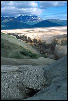 Snowfield and Lethe river, Valley of Ten Thousand smokes. Katmai National Park ( color)