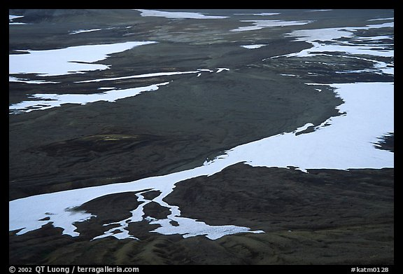 Patterns of melting snow, Valley of Ten Thousand smokes. Katmai National Park (color)