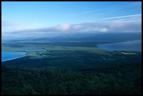 Brooks camp and river seen from the Dumpling mountain. Katmai National Park, Alaska, USA.