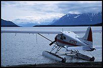 Floatplane in Naknek lake, used by visitors to fly in from King Salmon. Katmai National Park, Alaska, USA. (color)