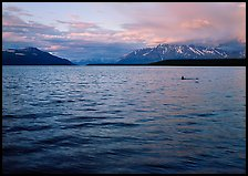 Naknek Lake at sunset with pink clouds. Katmai National Park, Alaska, USA.