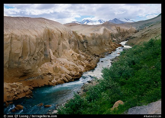 The Lethe river carved a deep gorge into the ash of the Valley of Ten Thousand smokes. Katmai National Park (color)
